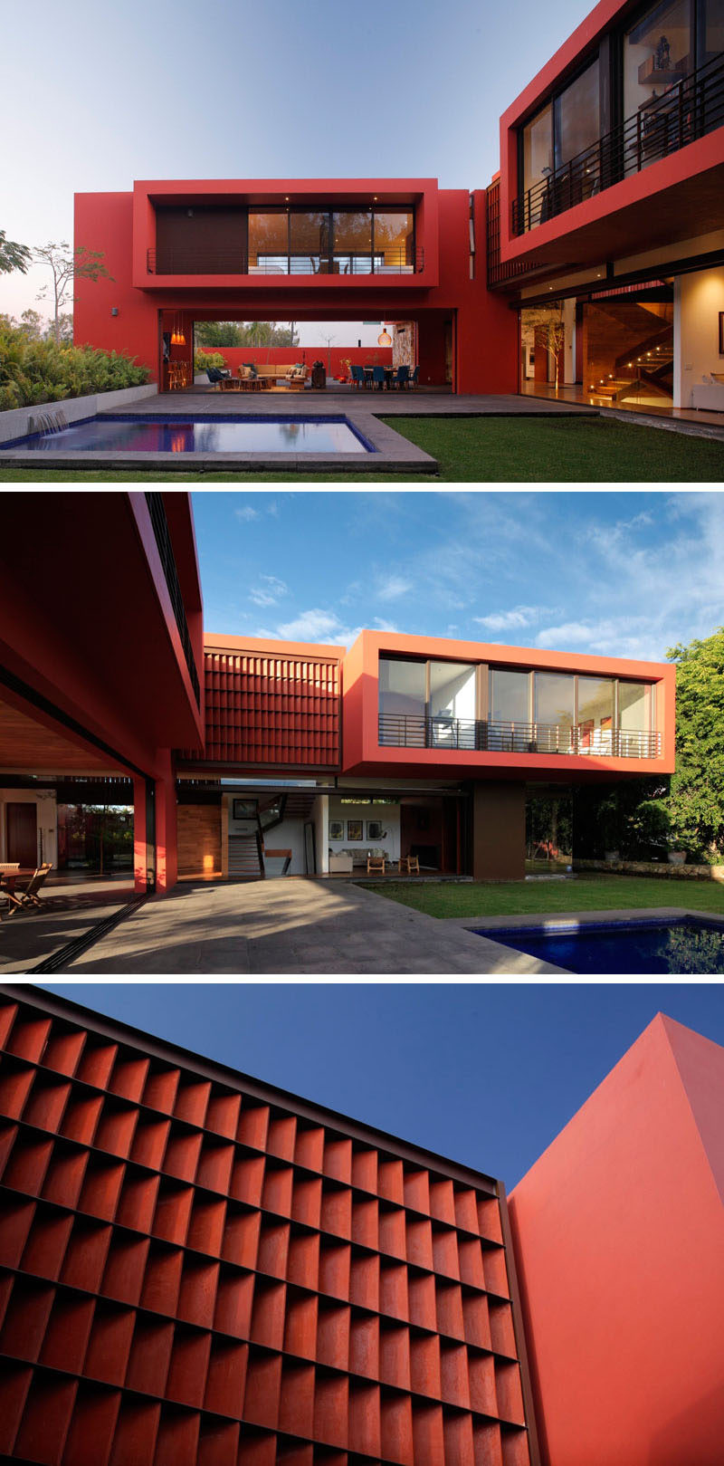 11 Red Houses And Buildings That Aren't Afraid To Make A Statement // Even though the exterior of this house is completely red, the openness of the bottom floor prevents the color from feeling overpowering or overwhelming.