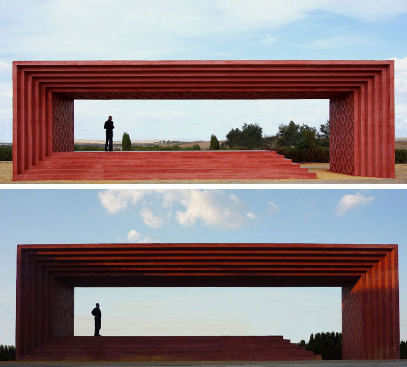 11 Red Houses And Buildings That Aren't Afraid To Make A Statement // This red monument in honor of Pedro Almodovar was designed to use the landscape to create a look similar to one of the directors movies.