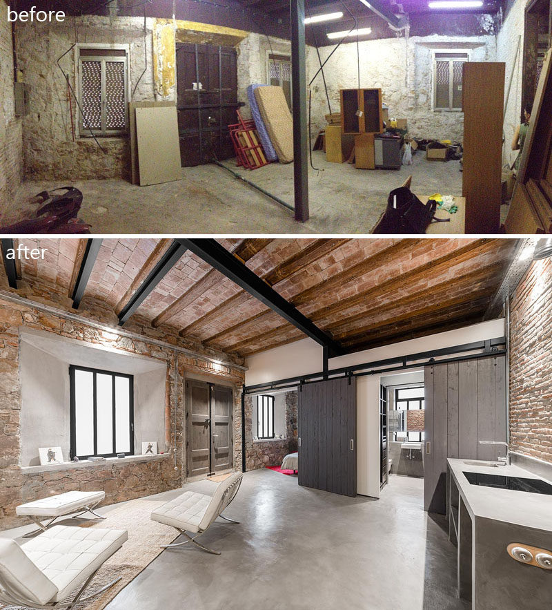 FFWD Arquitectes have recently completed the renovation of an old carpenter's workshop in Barcelona, Spain, into a two spaces, a guest suite / studio space and the second, the main living apartment.