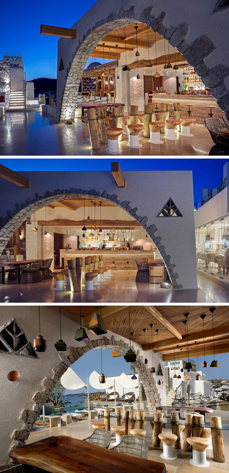 This hotel bar is located next to the pool and has carved wooden stools surrounding a sculptural glass table supported by wooden logs.