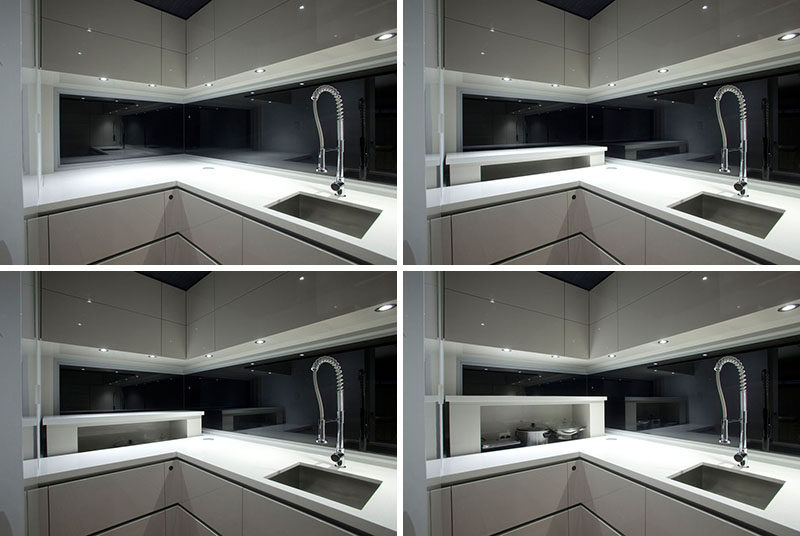 Kitchen Design Idea - Store Your Kitchen Appliances In A Dedicated Appliance Garage // This rising appliance garage features a built-in outlet that allows appliances to be stored and easily have access to power.  #ApplianceGarage #KitchenIdeas #KitchenDesign