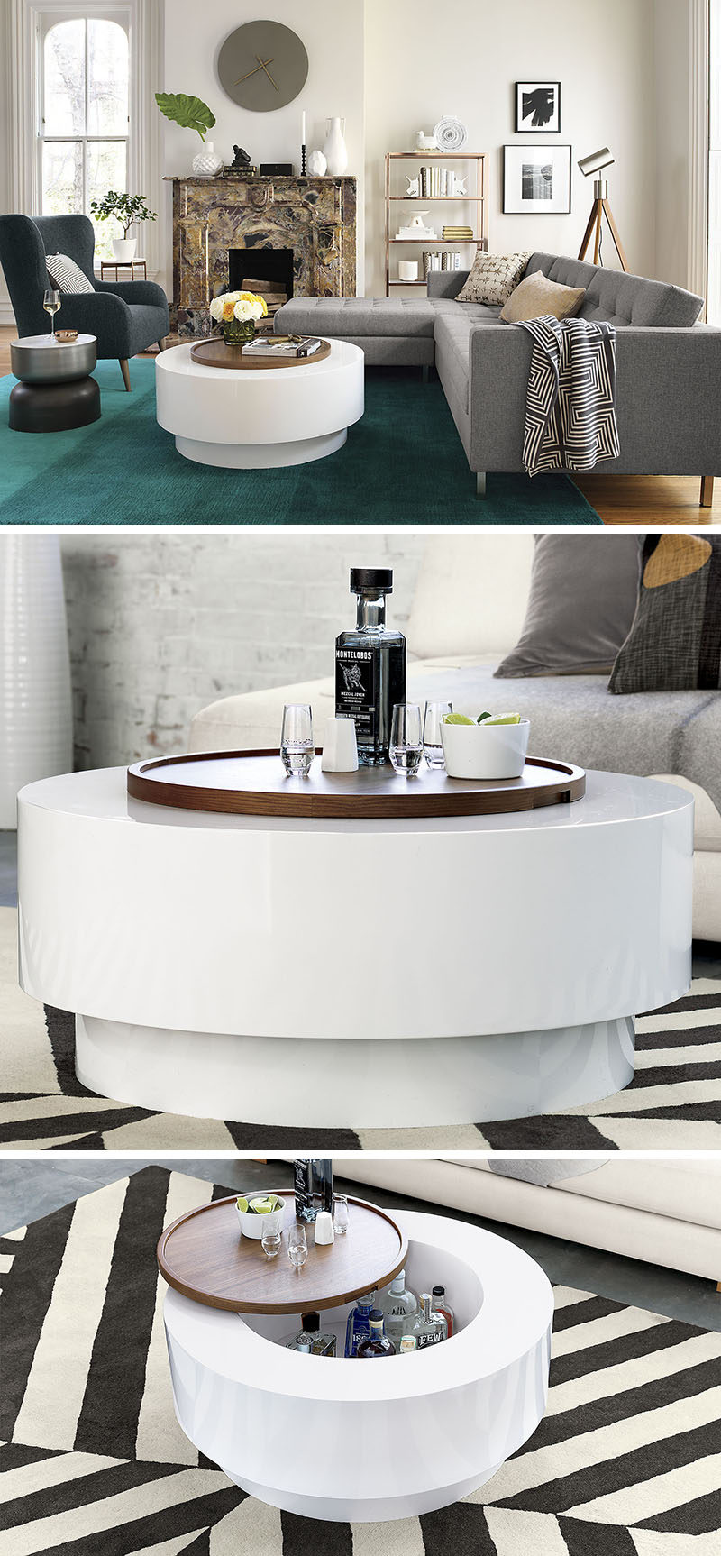Furniture Ideas Round Coffee Tables In Glass Wood