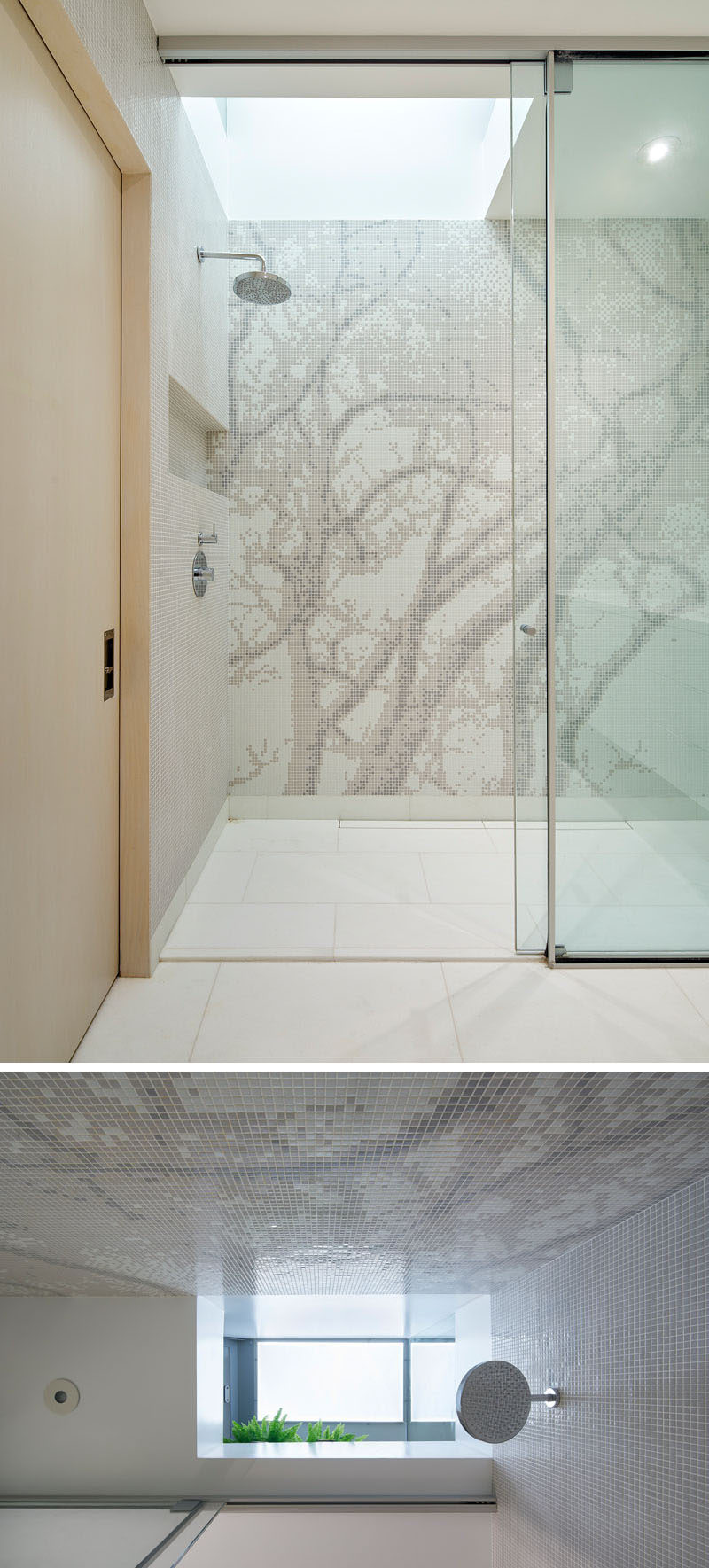 When you are in this shower, the steam from the shower collects on glass walls of a garden positioned directly above and waters the plants, which are partially visible from the shower below.