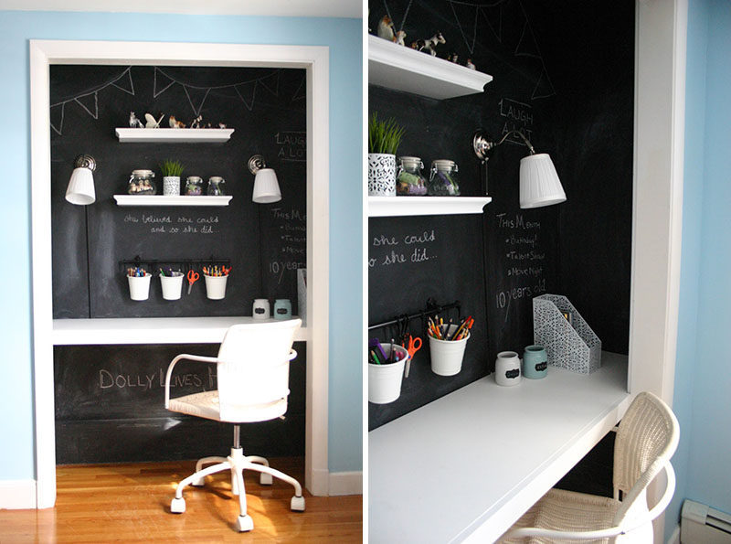 Small Apartment Design Ideas   Create A Home Office In A Closet // The Doors