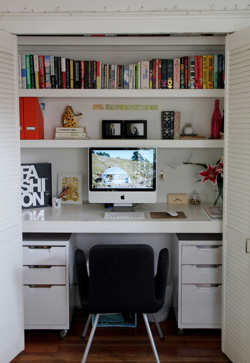 Small Apartment Design Idea - Create A Home Office In A Closet ... on home office california, home dining room design ideas, home garage design ideas, home kitchen design ideas, spring office decor ideas, home office kitchen cabinets, closet organization ideas, home office closet organization, home office shelving system, closet office storage ideas, home office closet storage, office den ideas, home office storage cabinets, home office sliding doors, small closet ideas, home office wall colors blue, closet into office ideas, closet desk ideas, bedroom office design ideas, closet remodeling ideas,