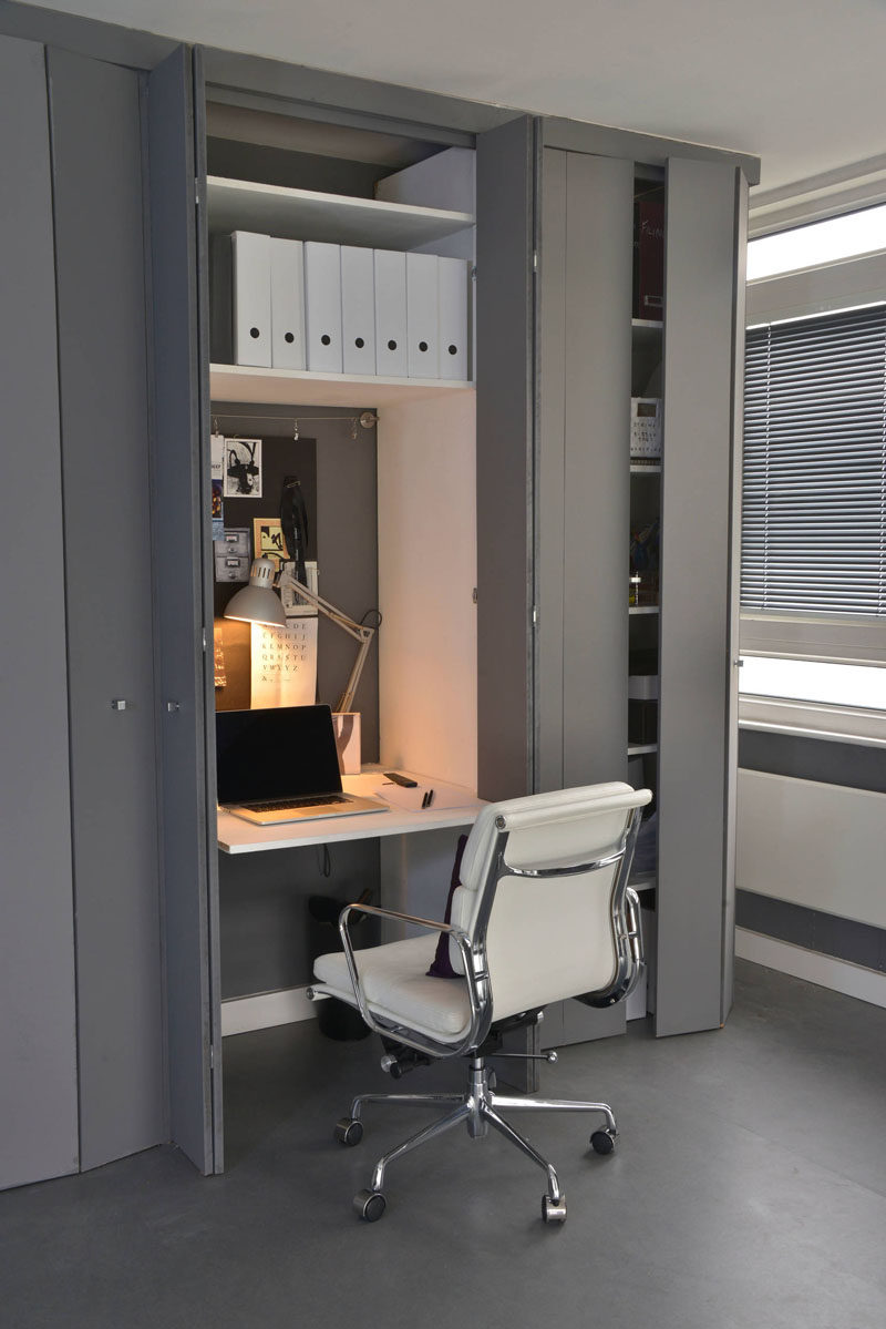 Home office closet ideas Design Ideas Small Apartment Design Ideas Create Home Office In Closet This Small Contemporist Small Apartment Design Idea Create Home Office In Closet