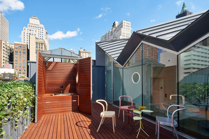 This penthouse apartment in New York has a private deck.