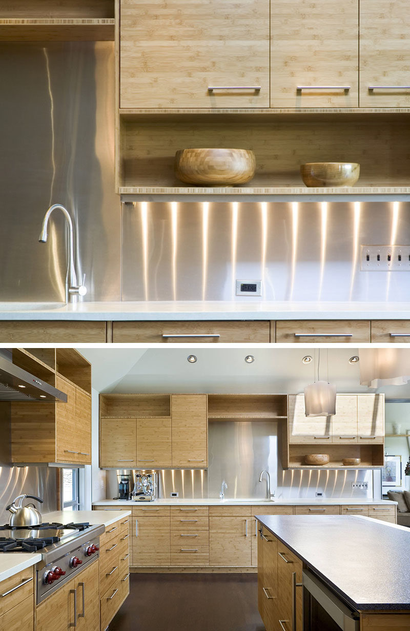 kitchen design idea - install a stainless steel backsplash for a