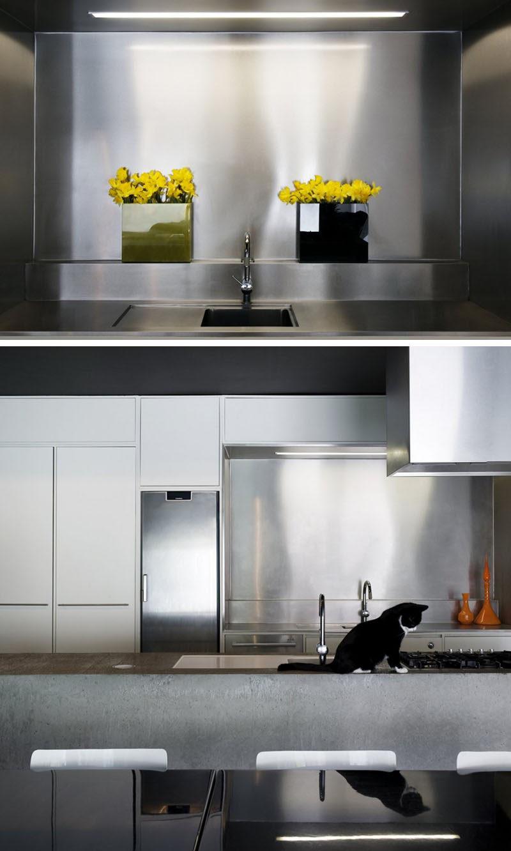 - Kitchen Design Idea - Install A Stainless Steel Backsplash For A