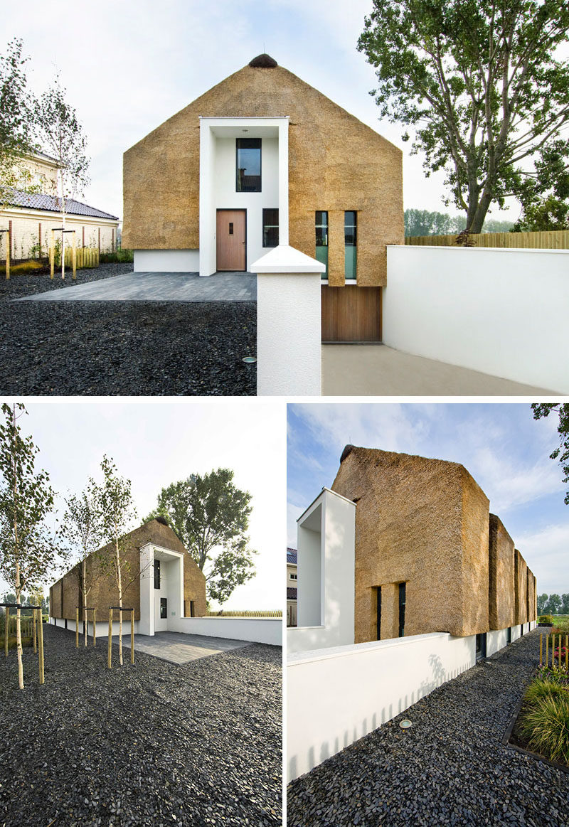 12 Examples Of Modern Houses And Buildings That Have A Thatched Roof // The roof and walls of this family home in the Netherlands uses tightly packed thatch and white plaster to create a look that has both traditional and modern elements.
