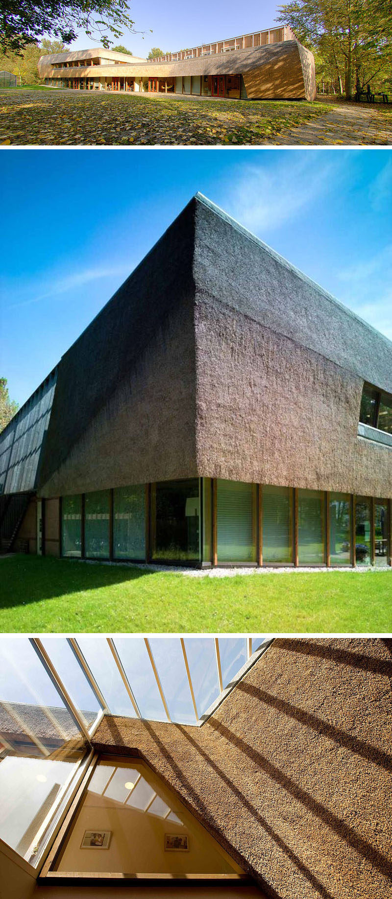 12 Examples Of Modern Houses And Buildings That Have A Thatched Roof // This daycare centre extension and remodel is covered with thatch to create a unique tactile experience for the kids who attend the daycare.