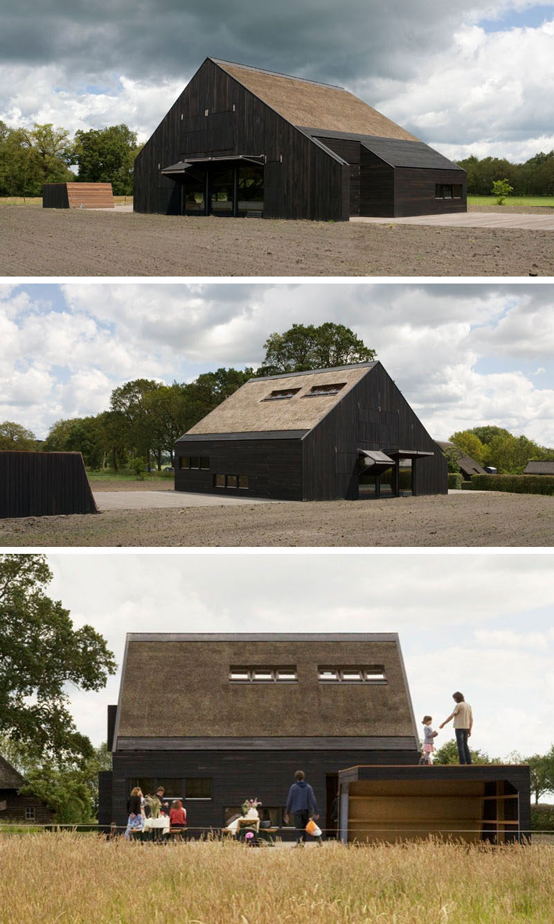 12 Examples Of Modern Houses And Buildings That Have A Thatched Roof // The thatch roof on this home has been set into the wood frame of the house and purposely doesn't hang over the sides to contrast the way that the roofs were traditionally installed.
