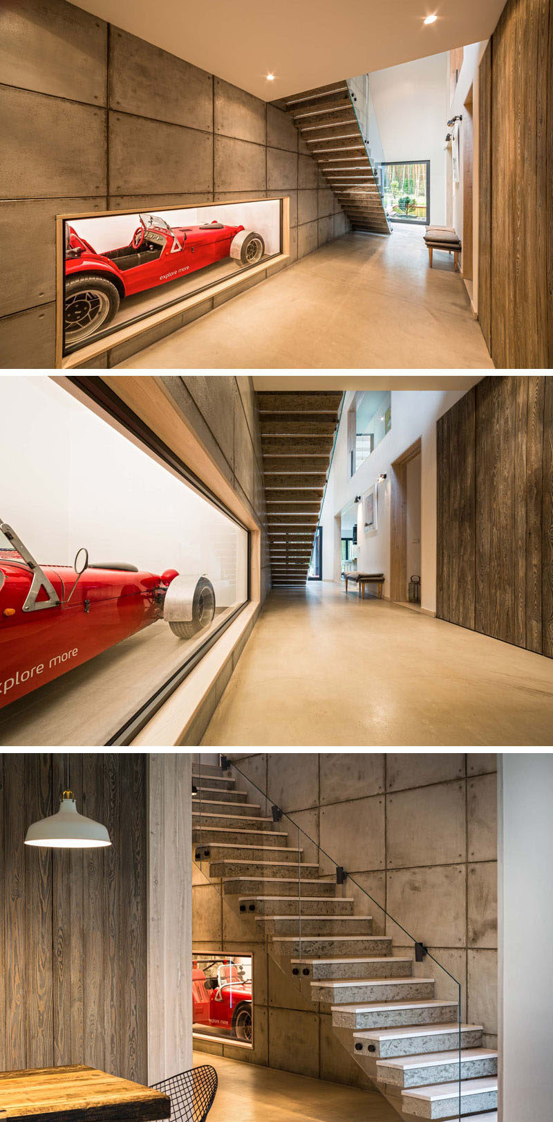 Inside this home, the entry hallway has an unexpected surprise. Embedded within the concrete wall of the home and displayed behind glass is a little red race car.