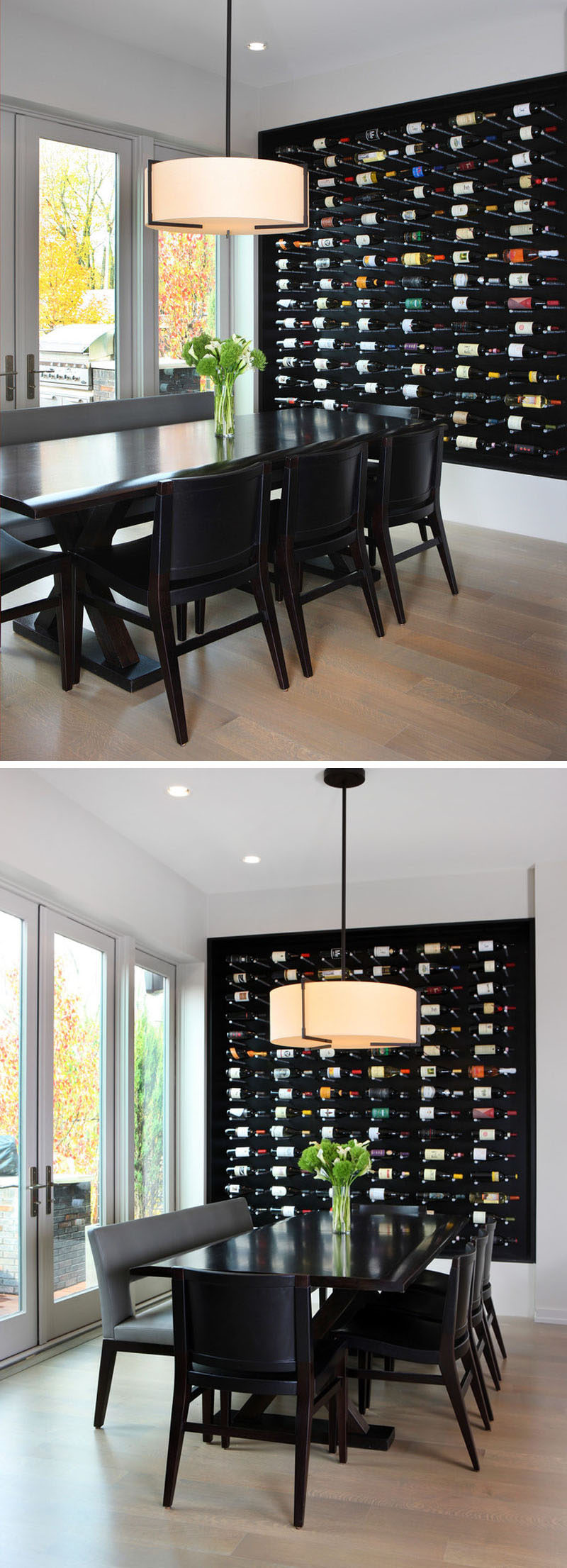 Wine Rack Ideas - Show Off Your Bottles With A Wall Mounted Display // This large wall mounted display in black lets the colors of the labels really stand out and eliminates the need for a statement art piece.