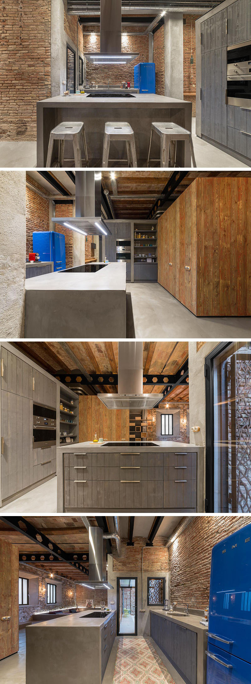 In this kitchen, a large central island provides plenty of counter space, and light gray wood has been paired with concrete to create a contemporary look.