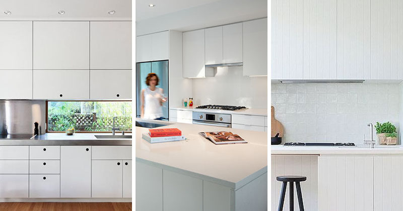 Kitchen Design Ideas - White, Modern and Minimalist Cabinets