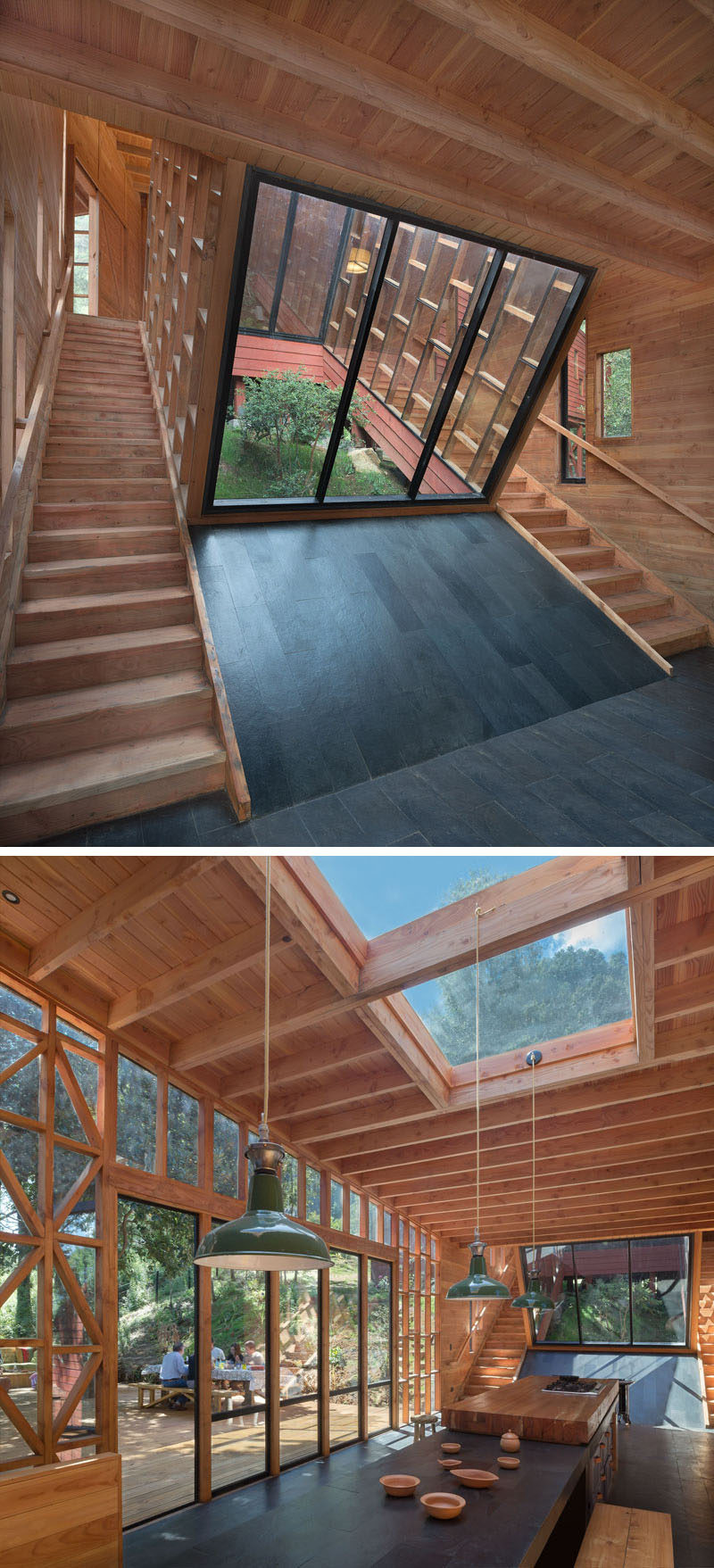 Multiple staircases are used to move around this house, and they are located on either side of a large cut-out in the home that's open to the elements and provides an abundance of light into the space and kitchen.