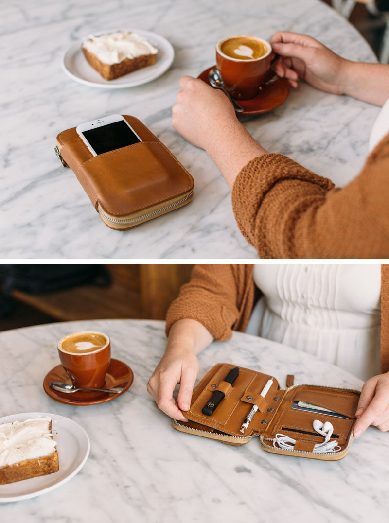 The Ultimate Gift Guide For The Modern Woman (40 Ideas!) // A folio that holds everything from a stylus pen to headphones, to money and her phone will help keep everything in one place when taking a purse out just isn't necessary. #TechGifts #GiftIdeas #CordOrganizer