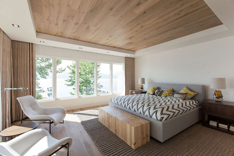 Bedroom Design Idea - 7 Ways To Create A Warm And Cozy Bedroom // Create a wood ceiling or use wood furniture to add warmth to your bedroom.