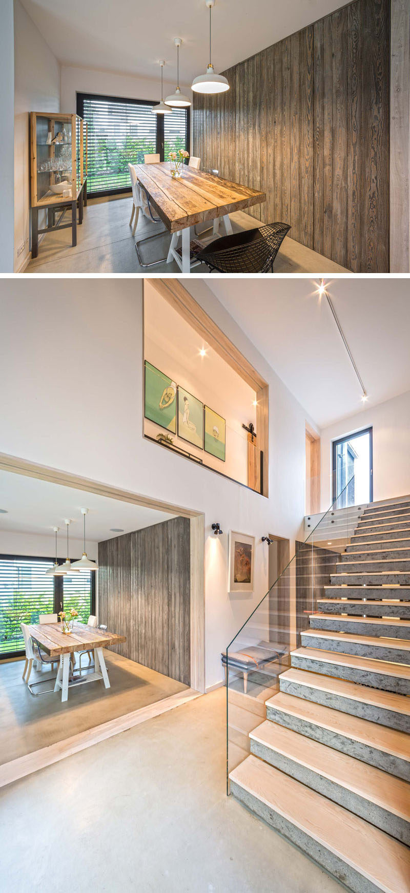This dining room has a wooden feature wall and access to the backyard.