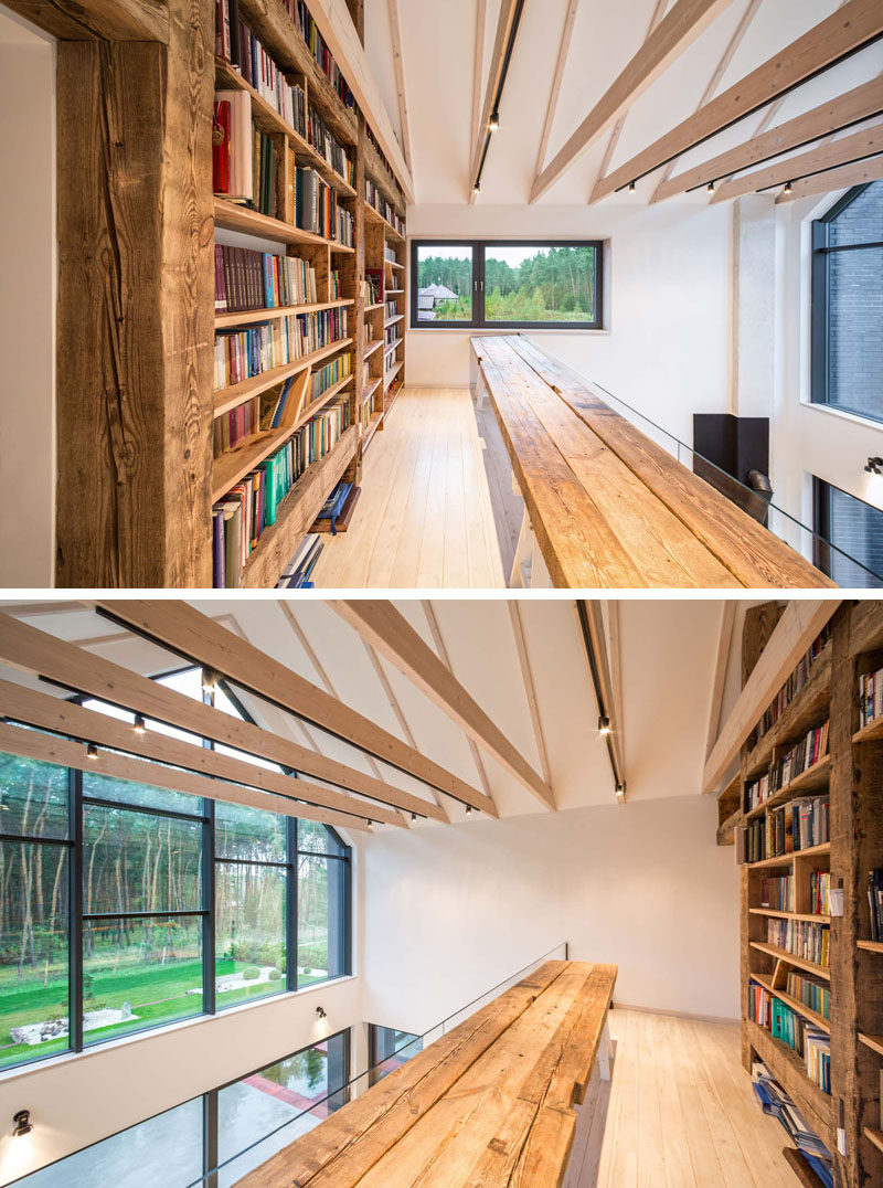 This home has a mezzanine library/reading area that overlooks the floor below and has views of the garden.