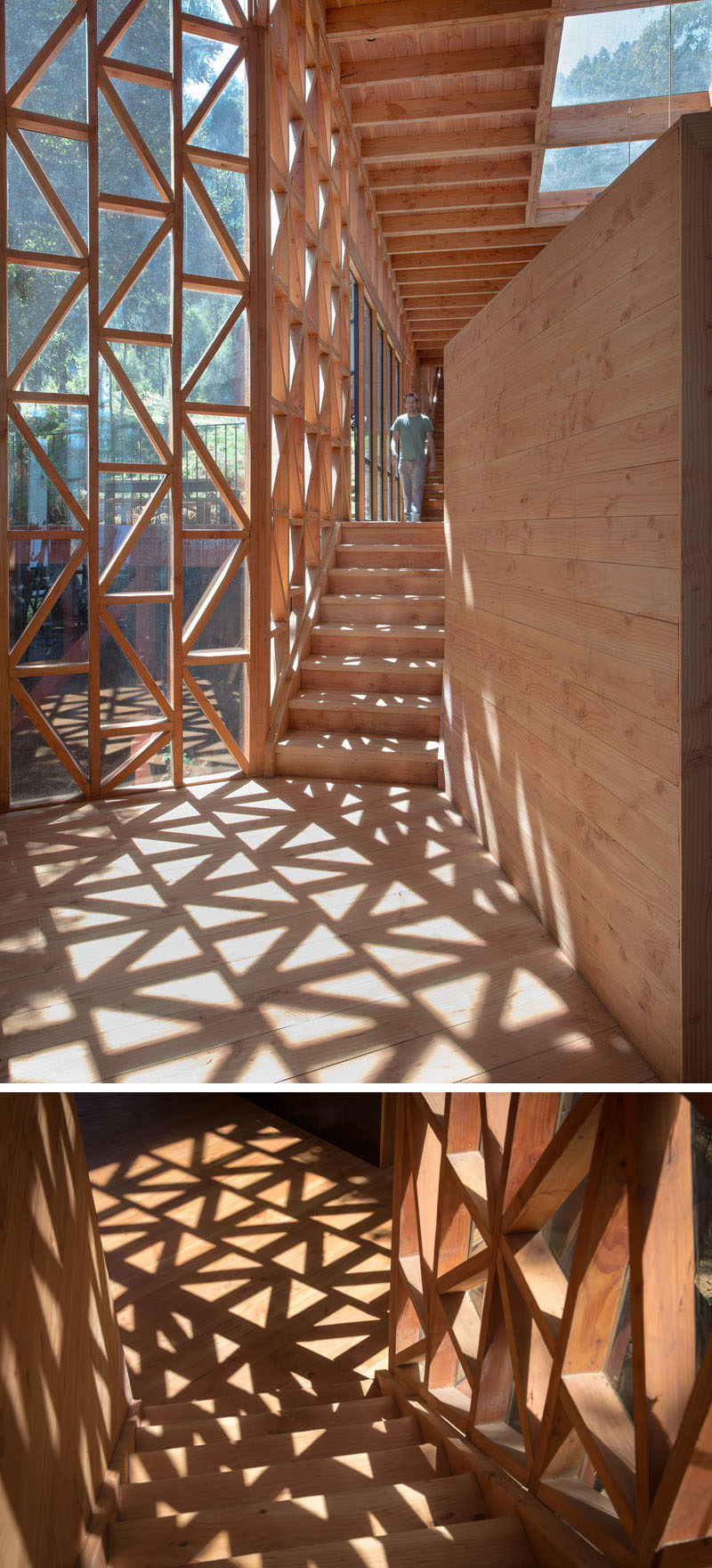 The windows next to these steps provide an interesting pattern when the sun shines on them.