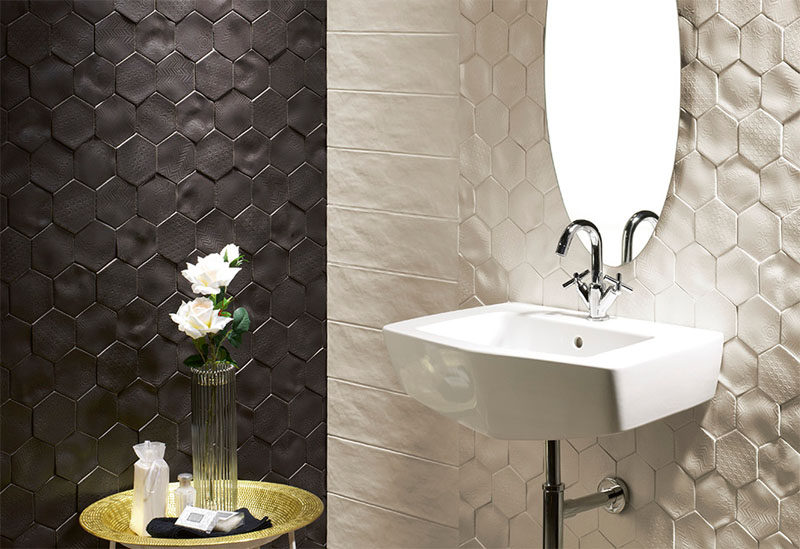 Bathroom Tile Idea Install D Tiles To Add Texture To Your - Bathroom tile patterns black and white