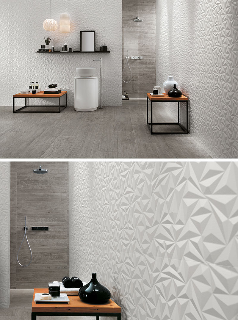 The Geometric Shapes In These Wall Tiles Create A Modern And Energizing Feel Bathroom While White Color Use Of Other Natural