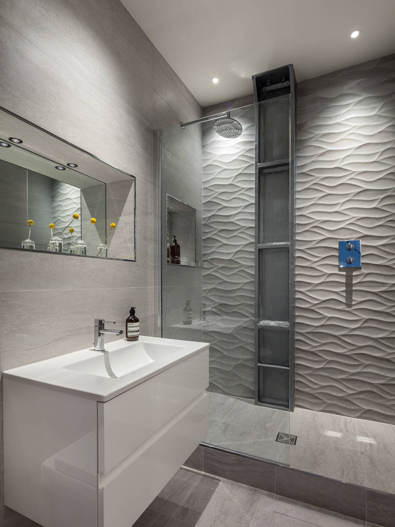 Shower Tile Ideas bathroom tile idea - install 3d tiles to add texture to your