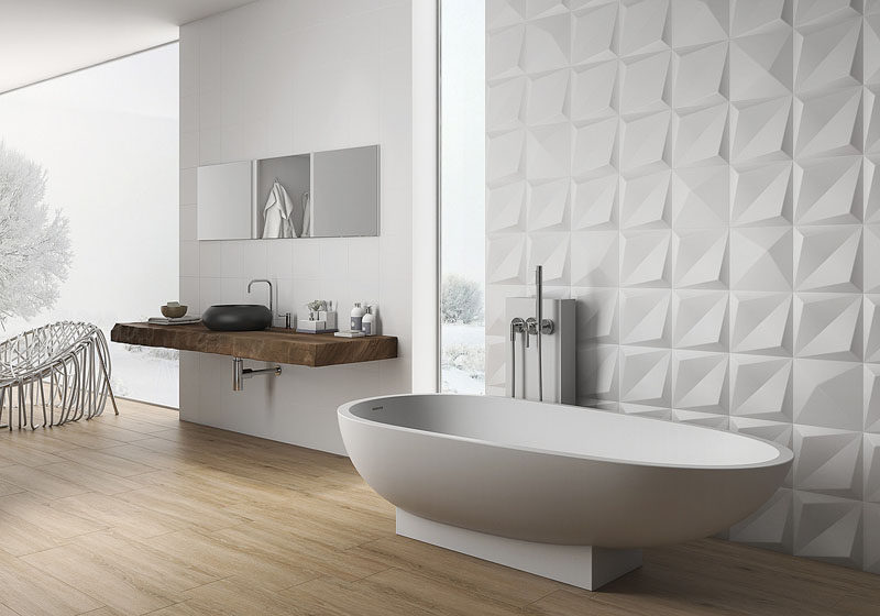 Bathroom Tile Ideas - Install 3D Tiles To Add Texture To Your Bathroom //  Large