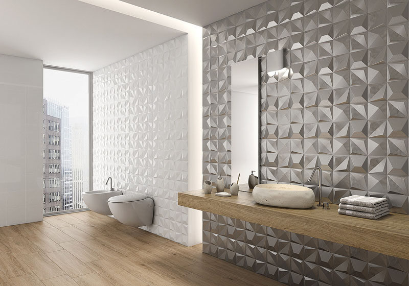 the metallic tiles on one of these bathroom walls give the bathroom a glamorous feel while the white 3d tiles add a more subtle texture to the walls - White Bathroom Tile Texture