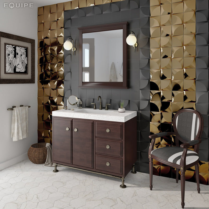 The Contrast Of Matte Black And Shiny Gold 3D Tiles Around The Vanity Of  This Bathroom Creates A Sophisticated Look Thatu0027s Both Masculine And  Feminine.