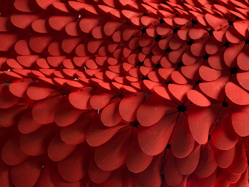 3D PRINTED FASHION - This flowing red dress was inspired by petals, feathers, and scales. It was 3d printed using durable nylon plastic.