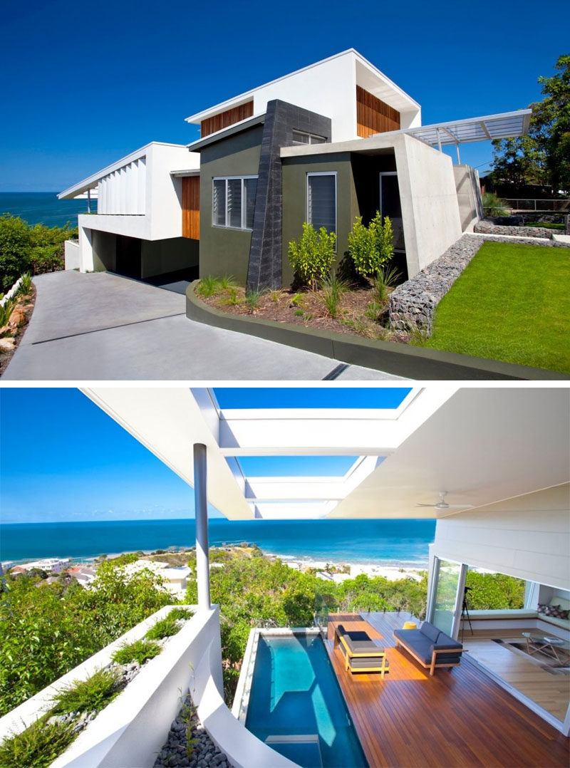 14 Examples Of Modern Beach Houses // The mixture of materials and textures on the exterior of this Australian beach house give it a modern look and help make the most of the views of the ocean while maintaining privacy from the street.
