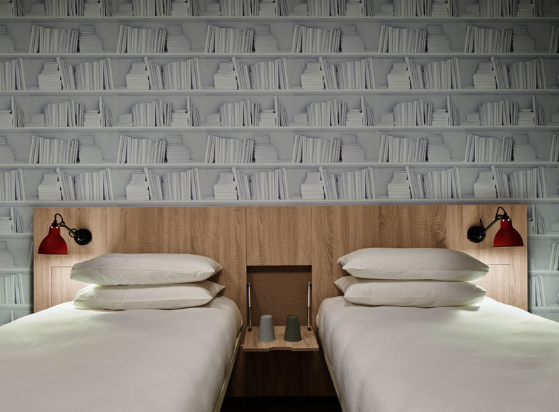 Hotel Room Design Ideas To Use In Your Own Bedroom // Include a fold down bedside table.
