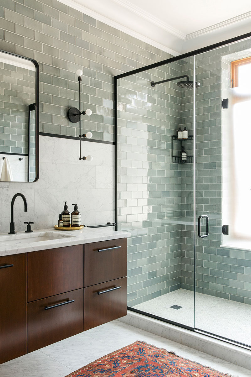 bathroom design ideas black shower frames the black elements of this bathroom including - Bathroom Designs Ideas