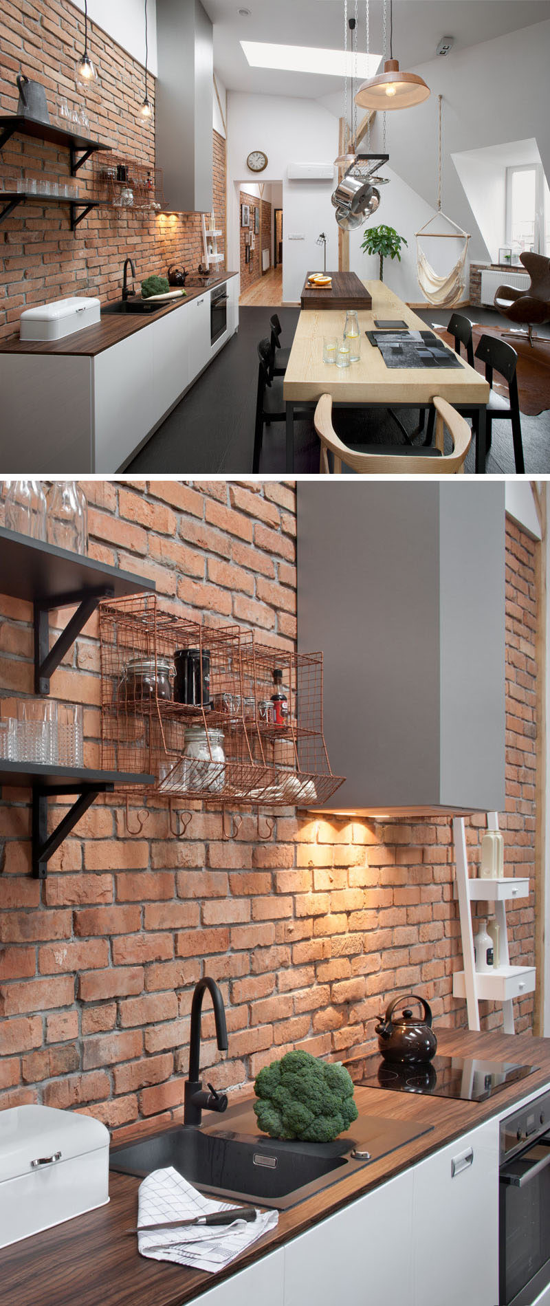 Throughout this apartment kitchen there are bright white walls, touches of brick and wood, which all pair nicely with the wood and dark charcoal gray tiled flooring.