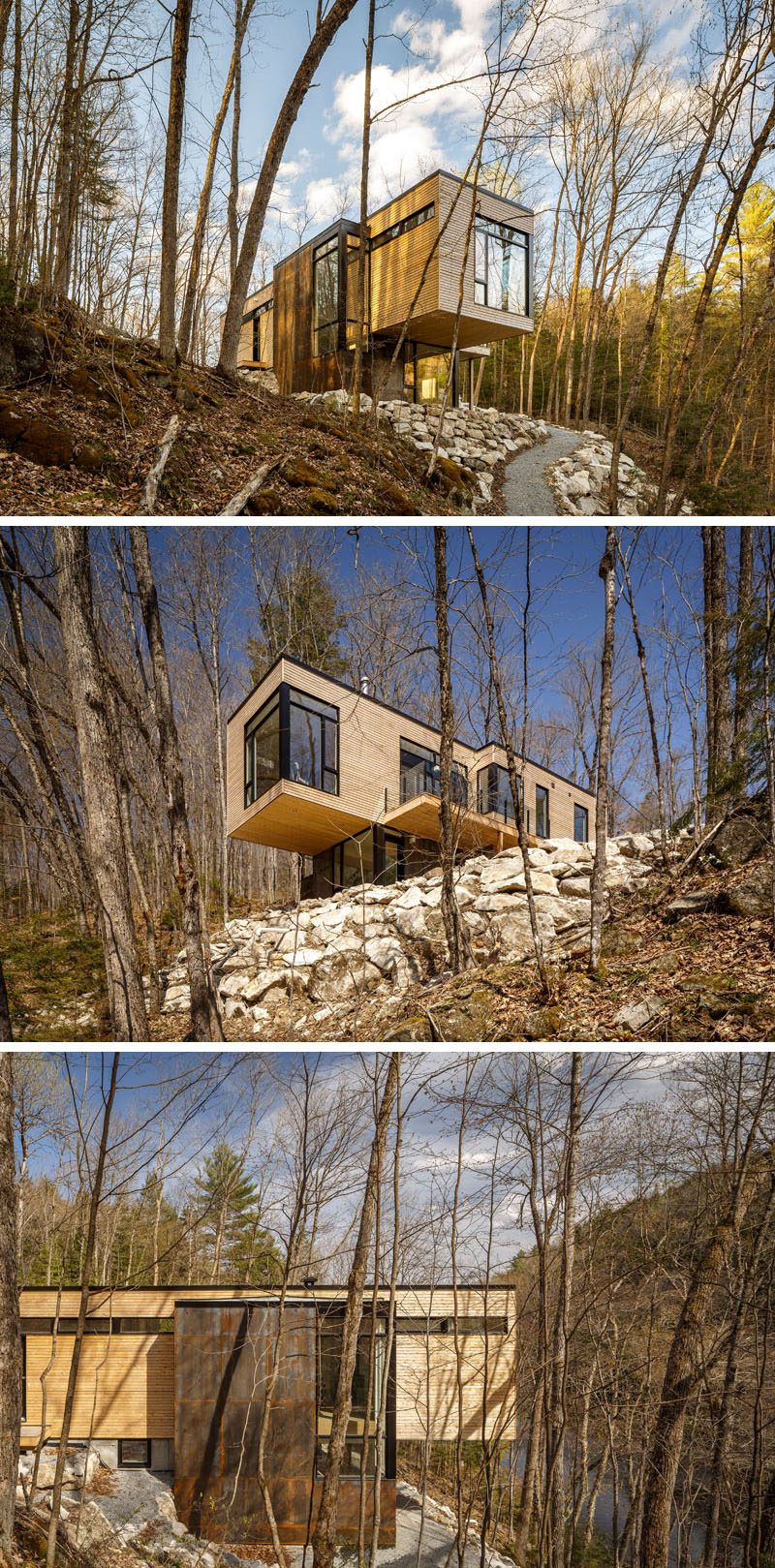 18 Modern House In The Forest // The trees of the forest around this house help filter the natural light that streams into the home. #ModernHouse #ModernArchitecture #HouseInForest #HouseDesign