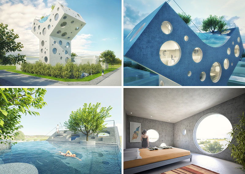 Located in Taiwan, this concept house has been designed as a futuristic home in a Y-shape, with circular windows covering the exterior and a pool on the roof.
