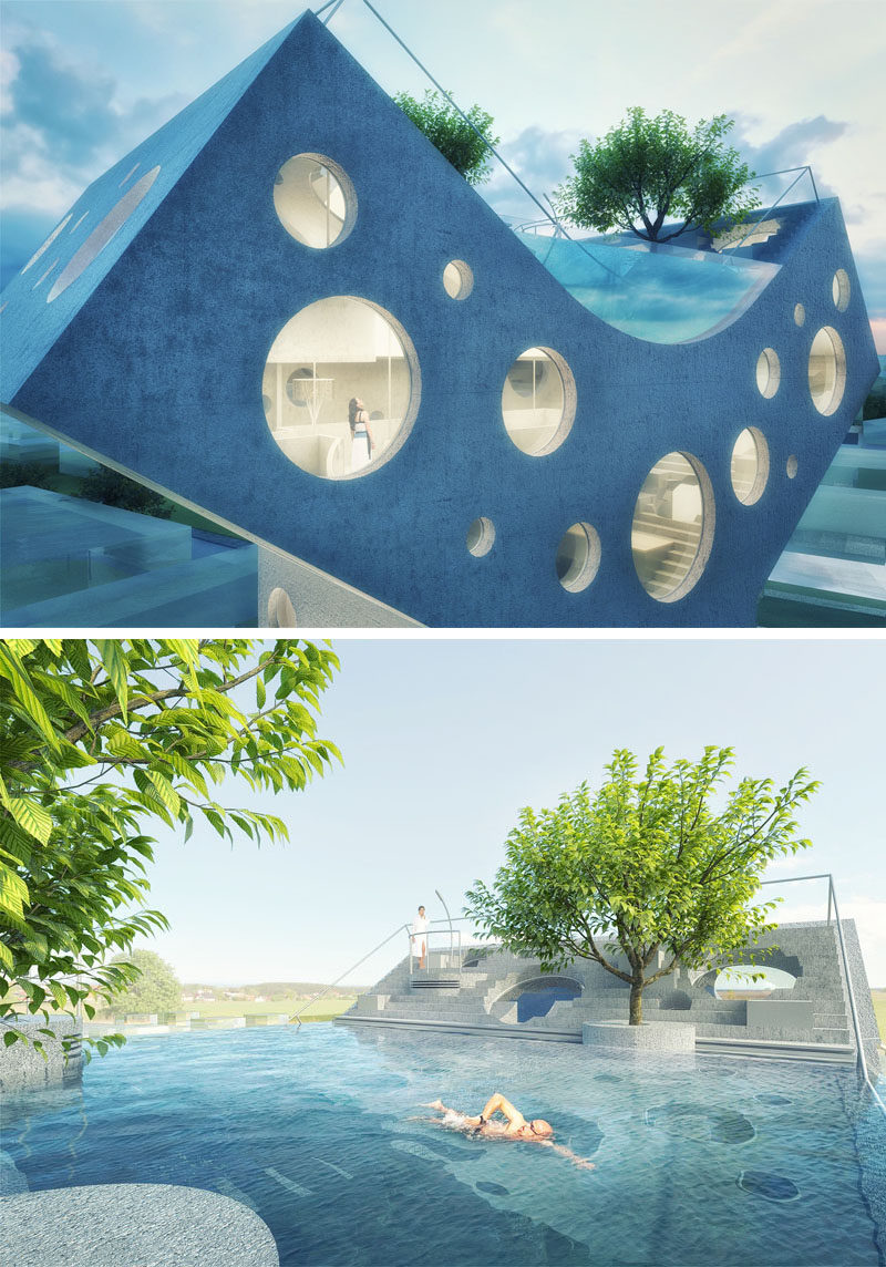 At the top of this futuristic concept home, the Y-shape provides the opportunity to have a swimming pool and tiered outdoor space.