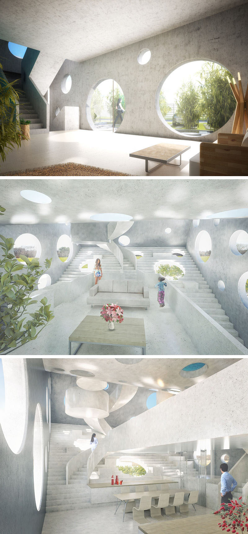 On the lower levels of this futuristic concept home are two children's rooms, a master bedroom and a guest bedroom, which are all stacked above a ground-level garden tea room, designed for entertaining. As you climb the stairs, other communal living areas reveal themselves.