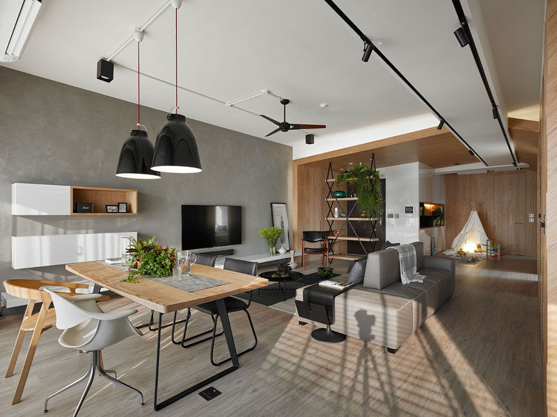 Awork Design Studio have completed the design of this apartment in Taipei, Taiwan for their clients, whose wish was to have a home that would have an open design, allowing them to maximize the space for their children, as well as bringing in as much natural light as possible.