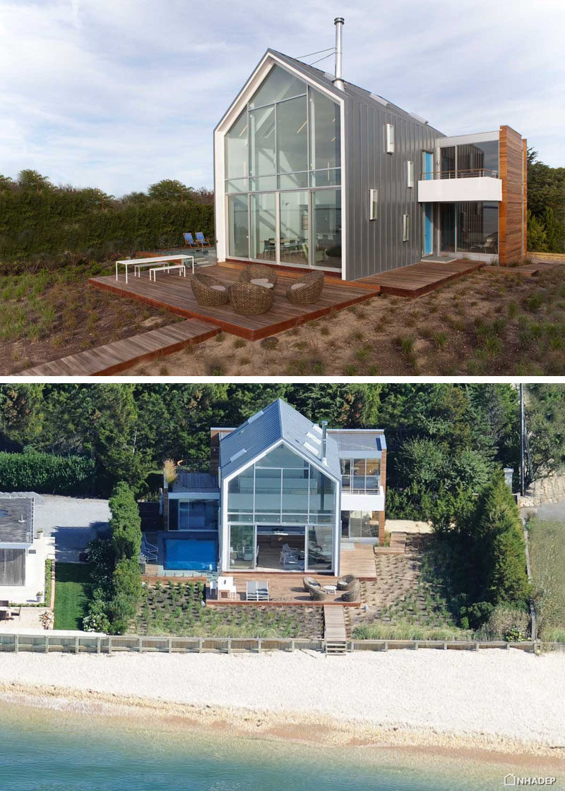 14 Examples Of Modern Beach Houses // The entire back wall of this New York beach home is made of glass to offer views of the ocean and let in as much natural light as possible.