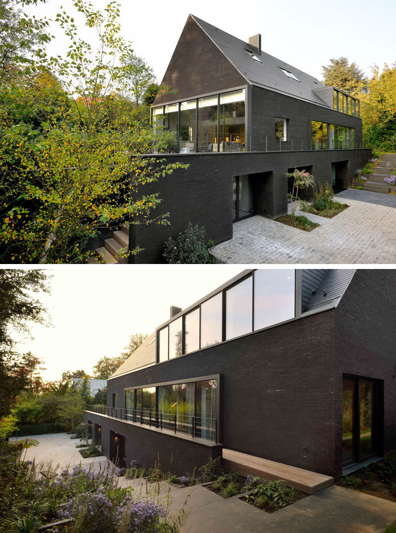 Modern Two Storey House Design With Terrace: This Contemporary Black Brick House Was Renovated For A
