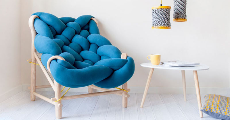 This furniture collection makes use of various knitting and weaving techniques