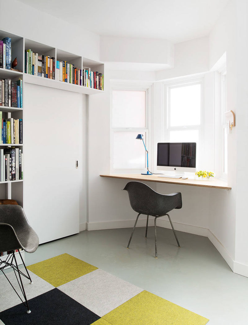 floating office desk. a wall desk installed in window alcove makes the most of natural light lets you look out while work floating office