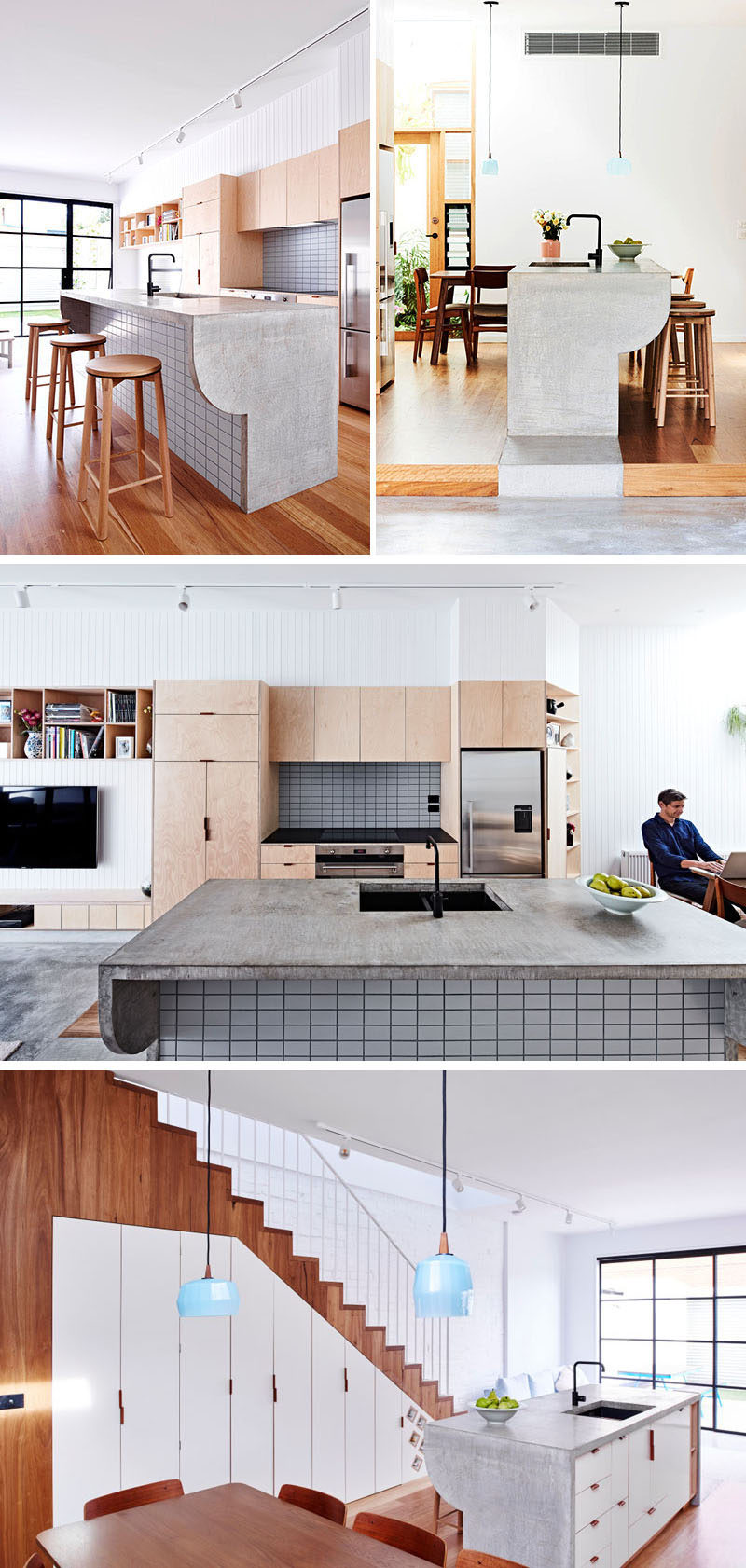 11 Creative Concrete Countertop Designs To Inspire You // The concrete counter of this kitchen island folds over the sides of the island and extends out to create a bar counter.