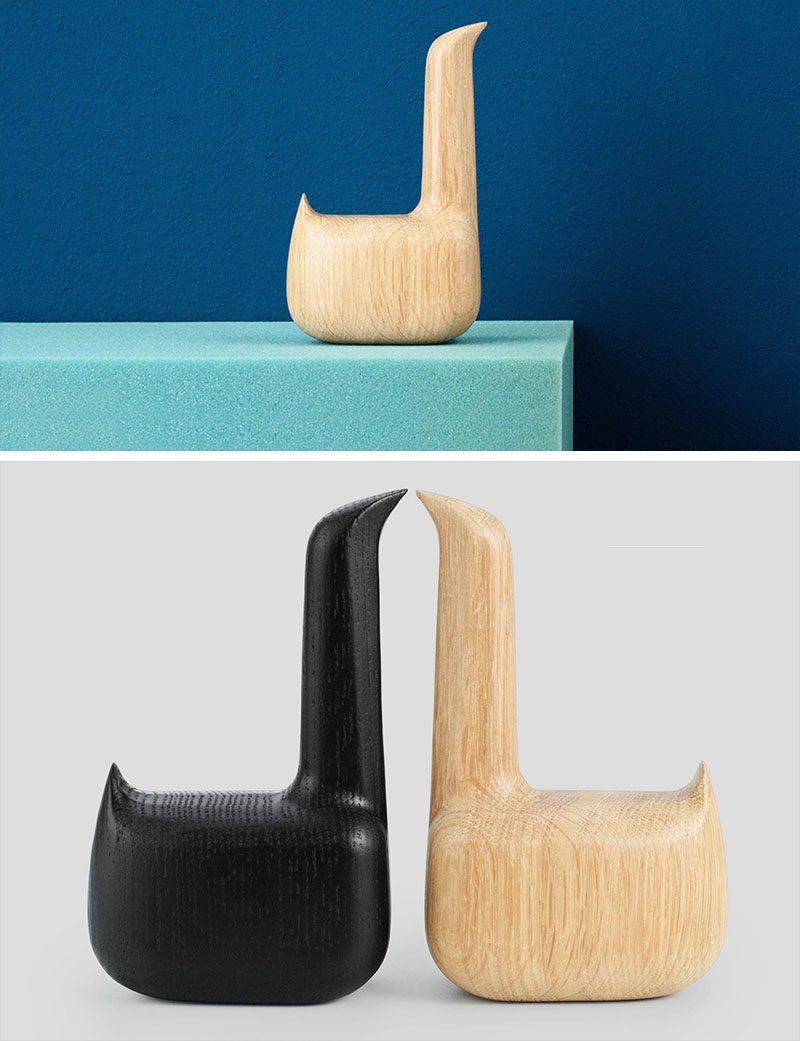18 Decorative Animal Objects That Blur The Line Between Toys And Decor // A super minimalist wooden swan works with any interior and is perfect for adding dimension to your decor.