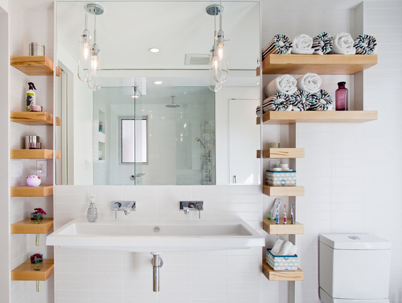 Bathroom Design Idea - Extra Large Sinks Or Trough Sinks (20 Pictures) // This trough sink replaces the countertop and lets two people get ready comfortably at the same time.