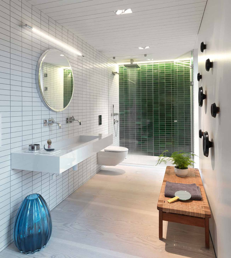 Bathroom Design Idea - Extra Large Sinks Or Trough Sinks (20 Pictures) // There's just enough room on the ends of this trough sink to allow for the essential bathroom things, like toothbrushes and soap to be stored on it.